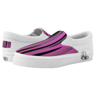 Pink and Black Tiger Camo Slip-On Sneakers