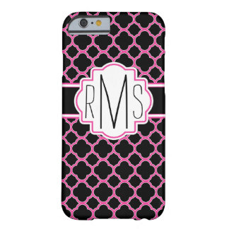 Pink and Black Triple Monogram Quatrefoil iPhone 6 Barely There iPhone 6 Case