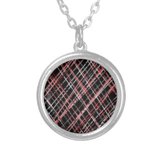 Pink and Black Tweed Necklace