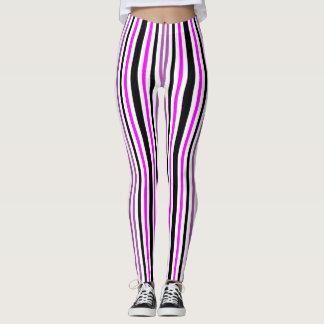 Pink and Black Vertical Stripes Leggings