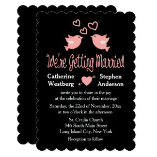 Pink And Black Wedding Lovebirds With Hearts Card