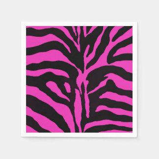 Pink and black zebra animal fashion glamour paper napkins