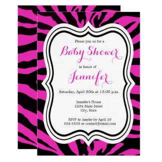 Pink and black zebra fashion girl baby shower card