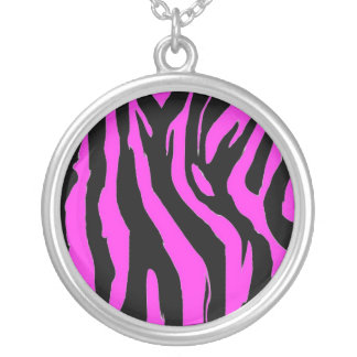 Pink And Black Zebra Neclace Round Pendant Necklace