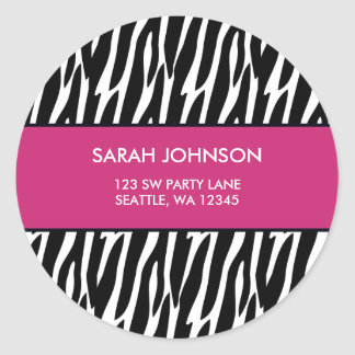 Pink and Black Zebra Pattern Custom Address Label Round Sticker