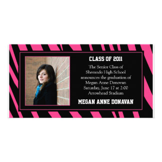 Pink and Black Zebra Photo Graduation Invitation Photo Card Template