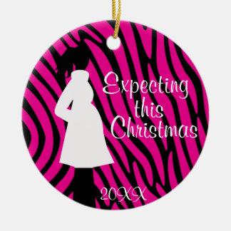 Pink and Black Zebra Pregnancy Ornament
