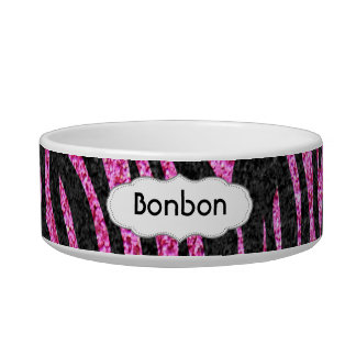 Pink and Black Zebra Print bling (faux glitter) Bowl