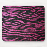 Pink and Black Zebra Print bling (faux glitter) Mouse Pad