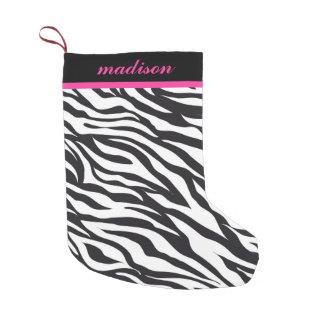 Pink and Black Zebra Print Monogram Stocking