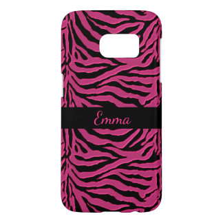 Pink and Black Zebra Stripe Galaxy S7 Case