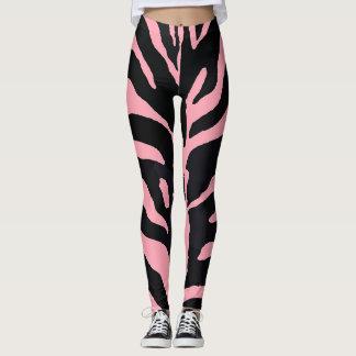 Pink and Black Zebra Striped Leggings