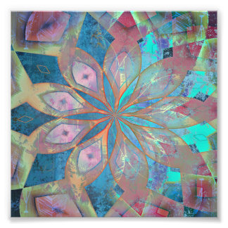Pink and Blue Abstract Mandala Tile Photograph