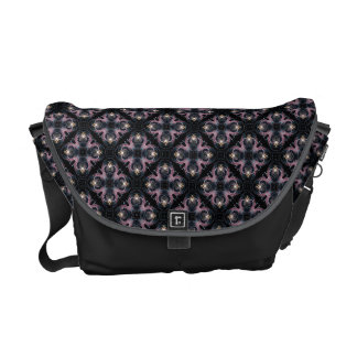 Pink And Blue Abstract Pattern On Black Commuter Bag