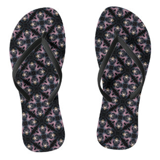 Pink And Blue Abstract Pattern On Black Flip Flops
