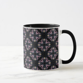Pink And Blue Abstract Pattern On Black Mug