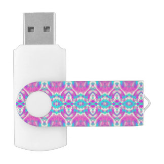 Pink and Blue Abstract Pattern USB Flash Drive
