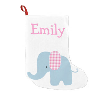 Pink and Blue Baby Elephant Small Christmas Stocking