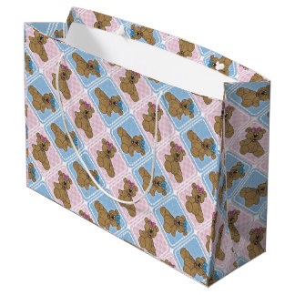 Pink and Blue Baby Teddy Bears Large Gift Bag