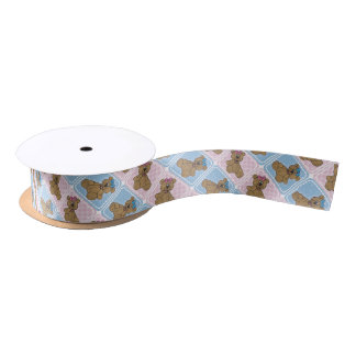 Pink and Blue Baby Teddy Bears Satin Ribbon
