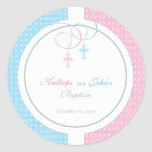 Pink and Blue Baptism Favour Sticker