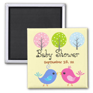 Pink and Blue Birds Baby Shower Magnet