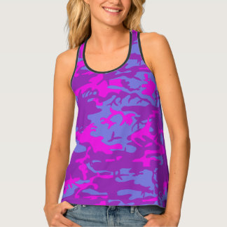 Pink and Blue Camo Tank Top