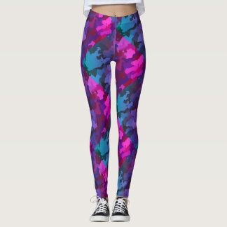 Pink and Blue Camouflage Camo Leggings