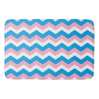 Pink and Blue Chevron Bath Mat