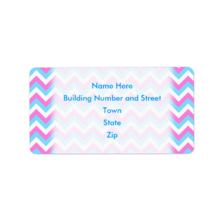 Pink and Blue Chevron Zig Zag Stripes. Label