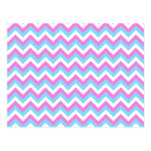 Pink and Blue Chevron Zig Zag Stripes. Postcard   Zazzle