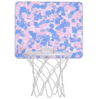 Pink and Blue Confetti Mini Basketball Hoop