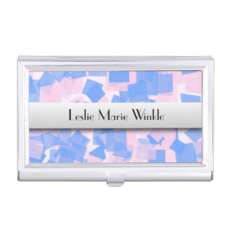 Pink and Blue Confetti Personalized Business Card Holder