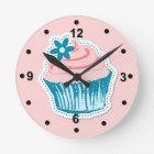 Pink and Blue Cupcake Wall Clock