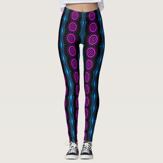 Pink and Blue Custom Shapes Leggings