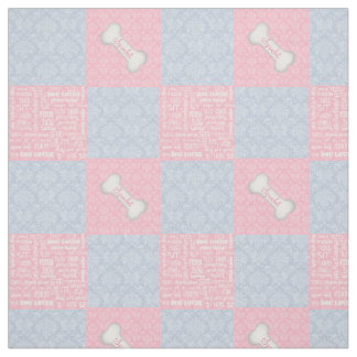 Pink and Blue Damask Patchwork with Name Fabric