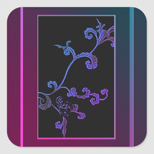 Pink And Blue Decorative Flower Square Sticker