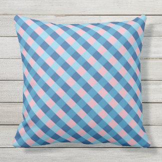 pink and blue diagonal stripe throw pillow