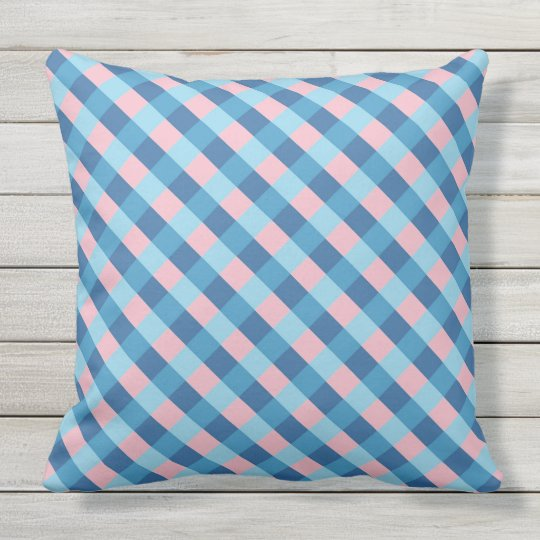 pink and blue diagonal stripe throw pillow