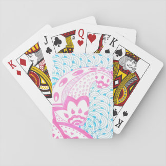 pink and blue doodle playing cards