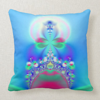 Pink and Blue Fairy Crown Fractal Art Throw Pillow