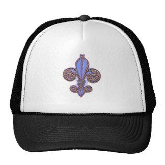 Pink and Blue Fleur de Lys Mesh Hat