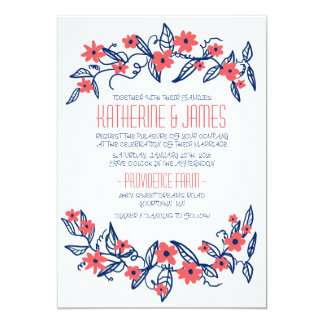 Pink and Blue Floral Banners Wedding Invitation