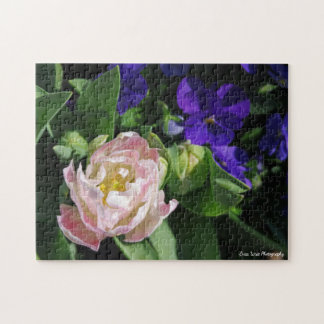 Pink and Blue Floral Jigsaw Puzzle