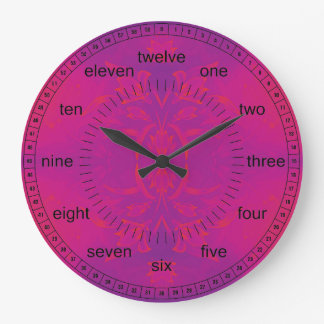Pink And Blue Floral Large Clock