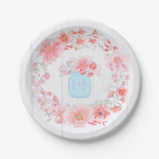 Pink and Blue Floral Mason Jar Wreath Rustic Paper Plate