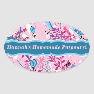 Pink and Blue Floral Oval Sticker