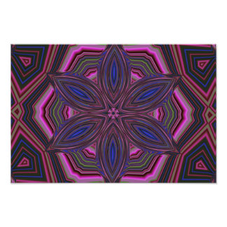 Pink and Blue Flower Kaleidoscope Mandala Art Photo
