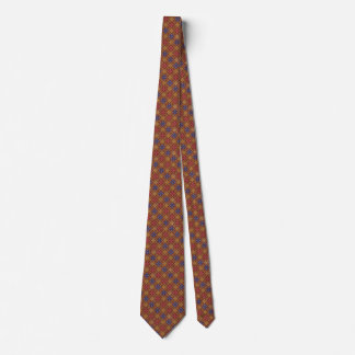 Pink and Blue Flower Patterned Burgundy Tie