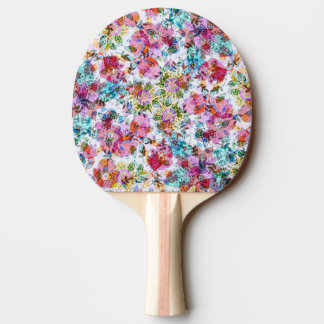 Pink And Blue Flowers Abstract Ping Pong Paddle